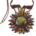 Labradorite Macrame Necklace – Sunflower design 2