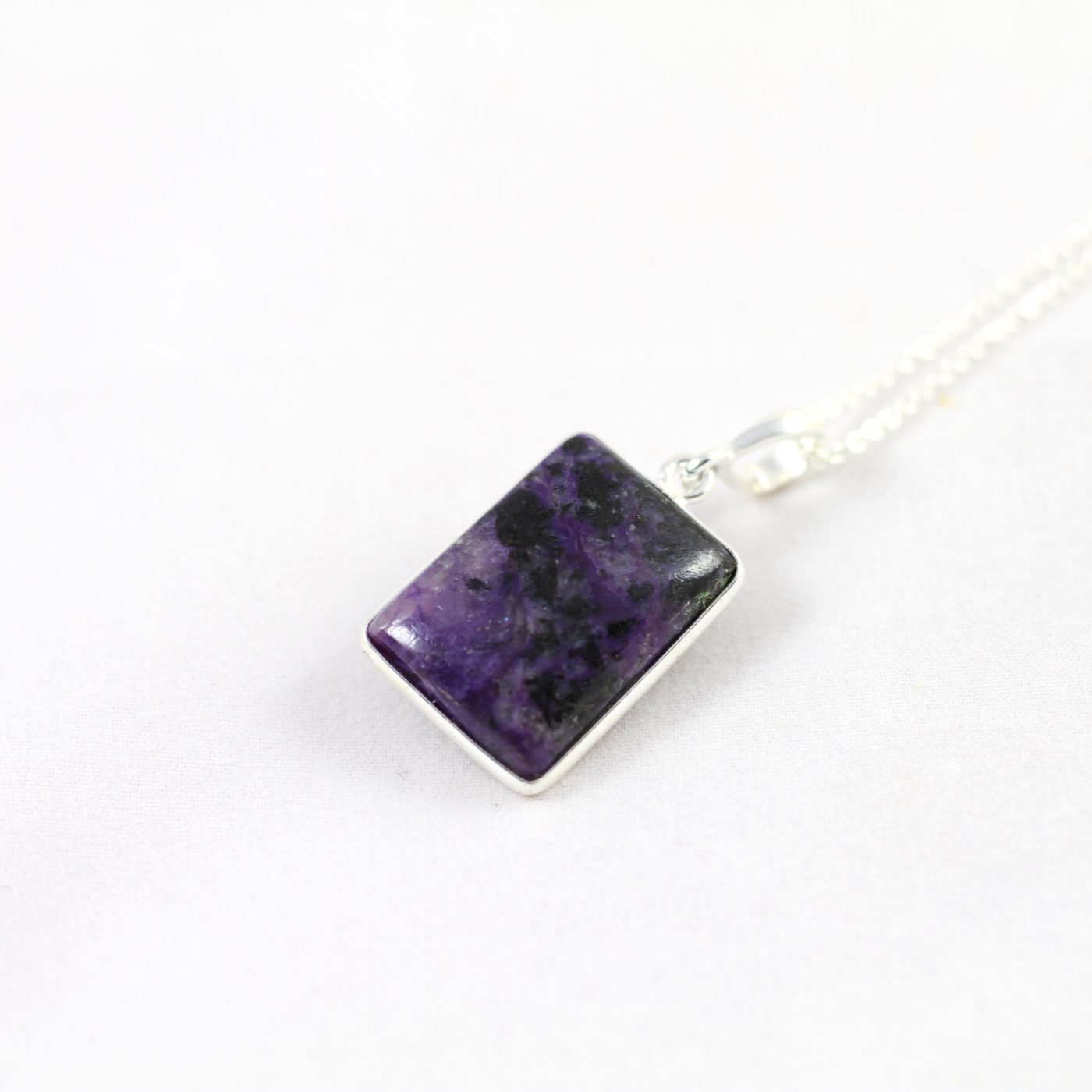 Charoite Sterling Silver Necklace - Rectangular Crystal
