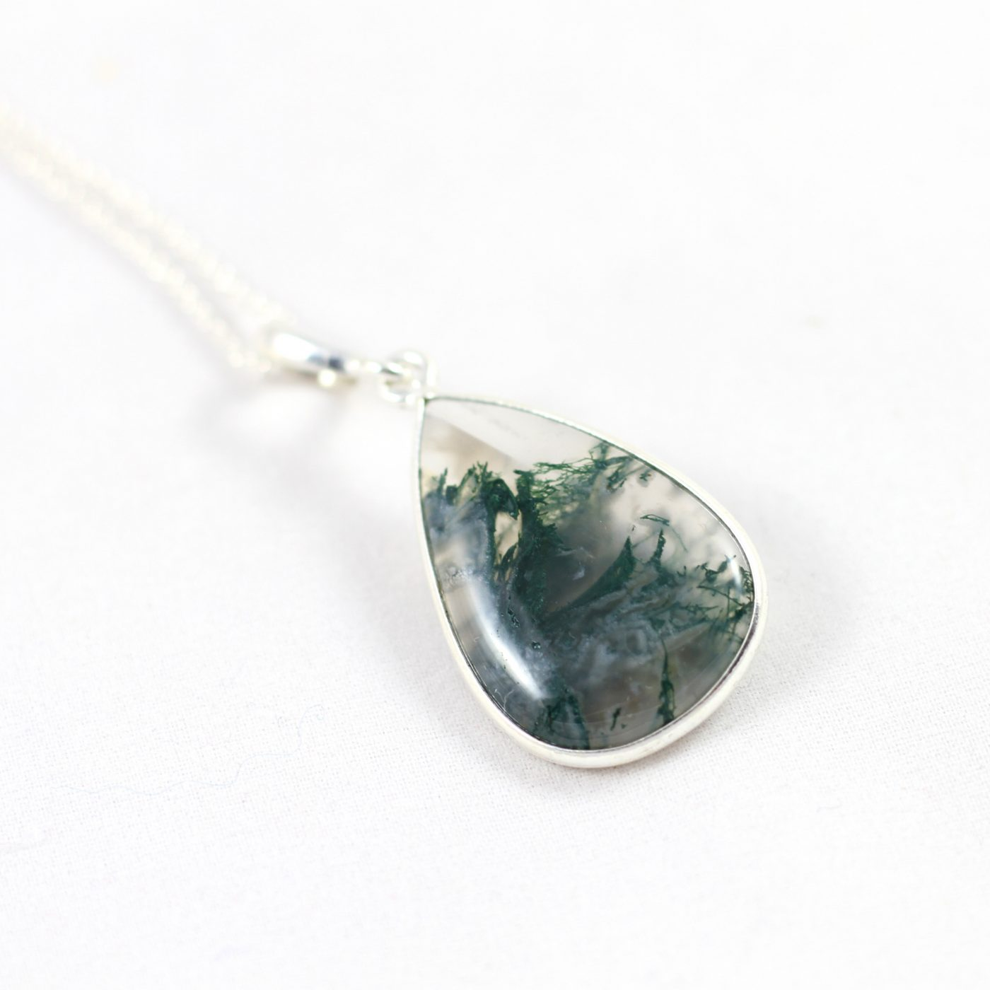 pendant nck open agate necklace back sterling silver opnbck moss mossagate oval shoreline product