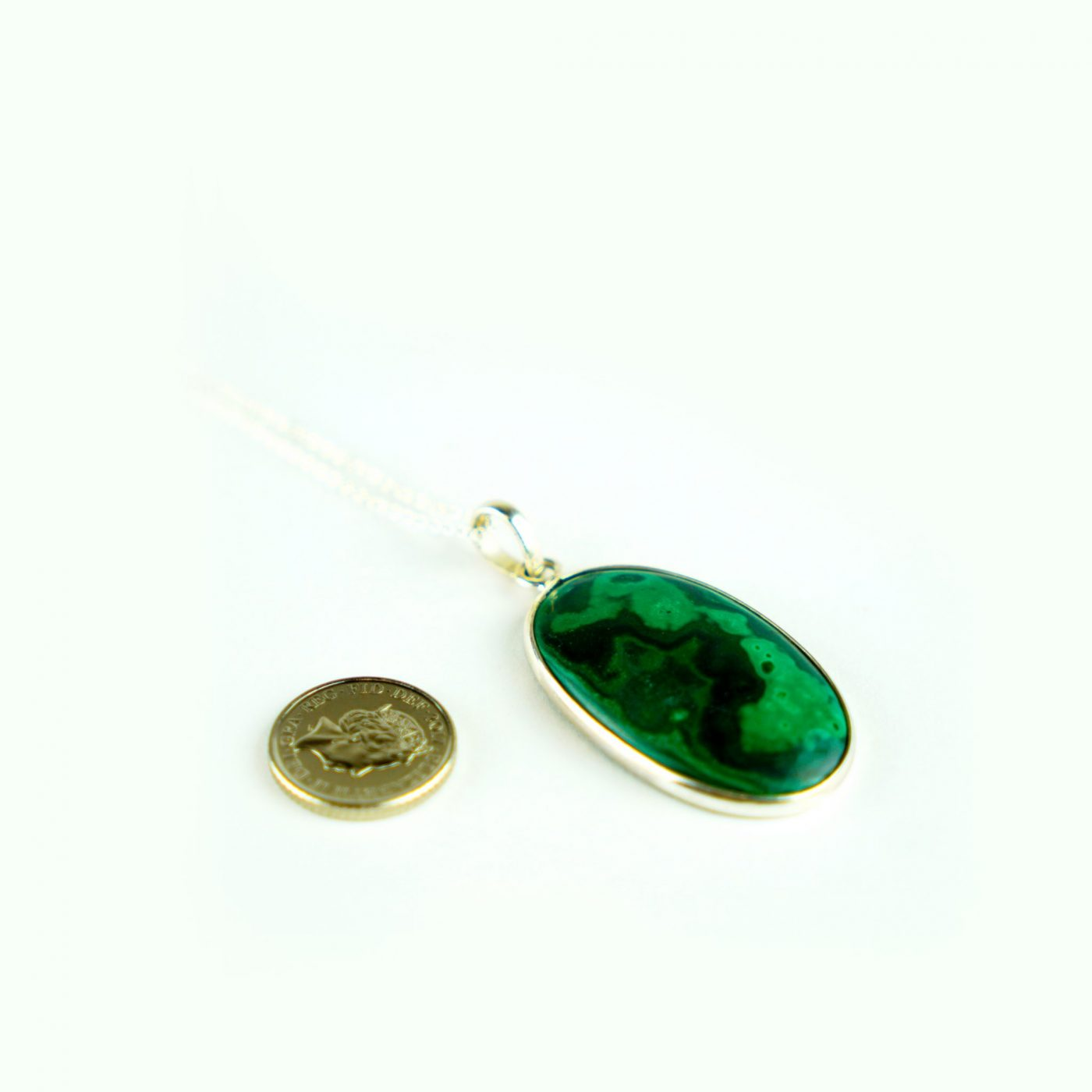 Malachite Sterling Silver Necklace – Oval Pendant