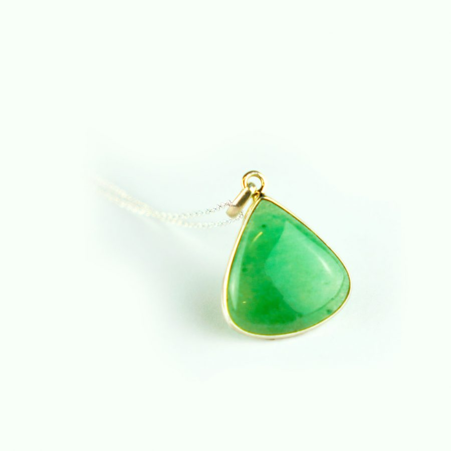Green Aventurine Sterling Silver Necklace - Teardrop Shape