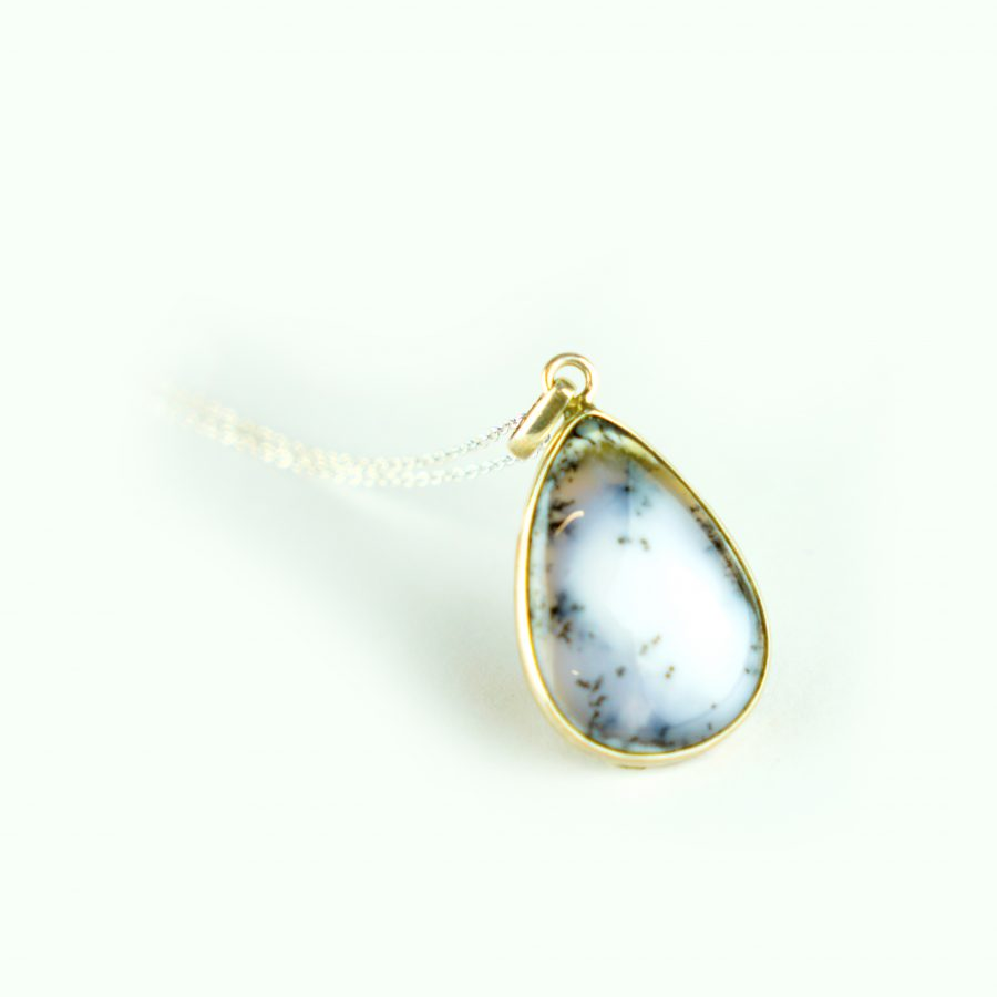 Dendrite Opal Sterling Silver Necklace - Waterdrop crystal