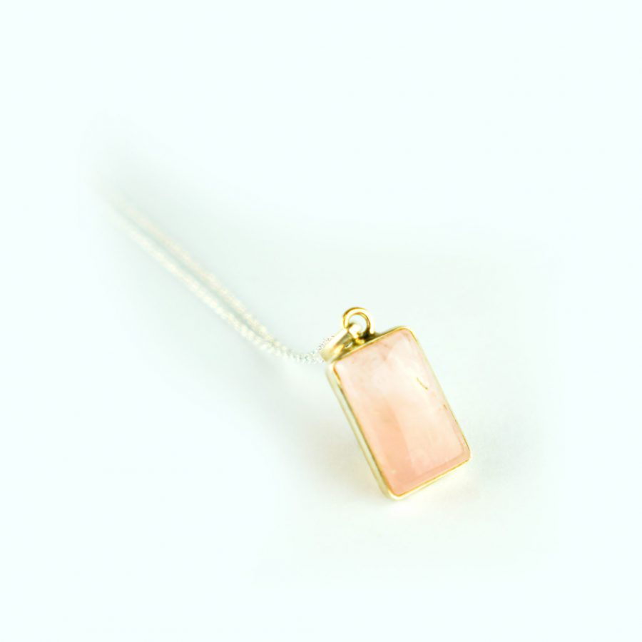 Rose Quartz Sterling Silver Necklace - Square Crystal