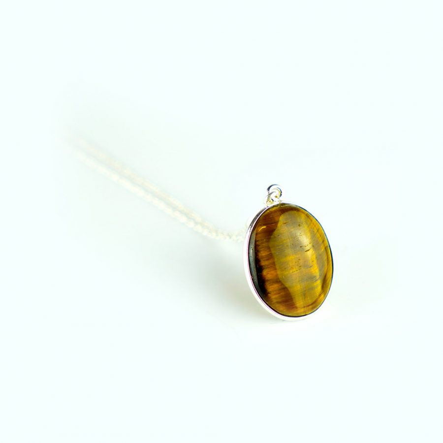 Tiger's Eye Sterling Silver Necklace - Oval Gemstone